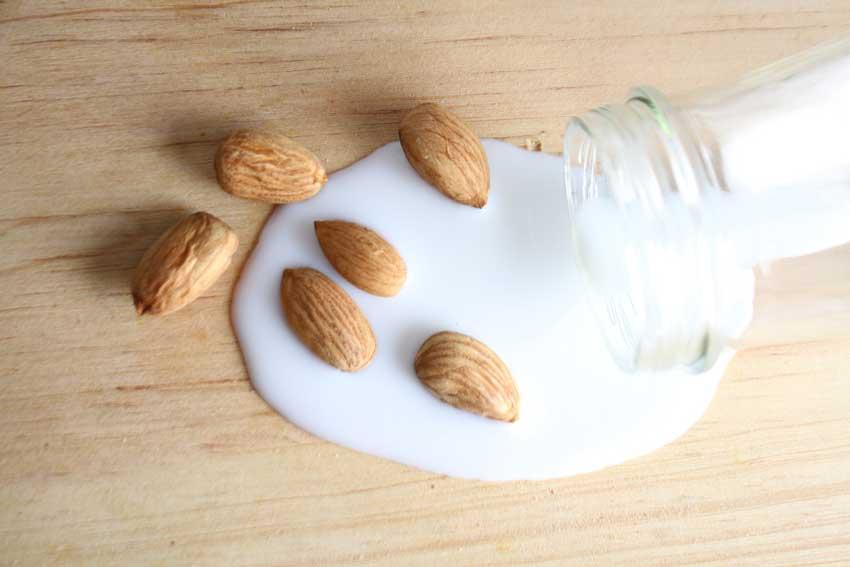 Almonds Siting In Almond Milk.